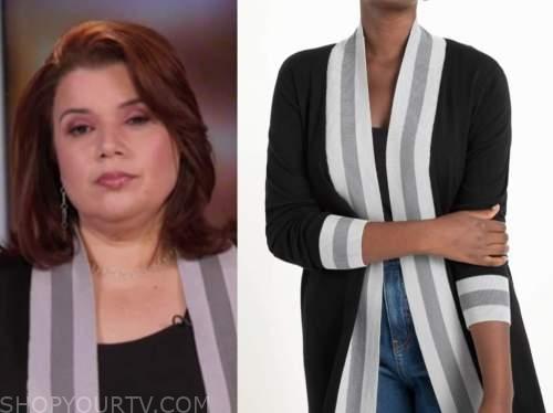 ana navarro, black and grey stripe contrast trim cardigan sweater, the view