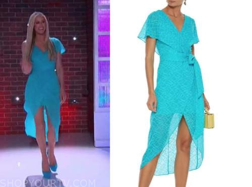 paris hilton, turquoise blue wrap midi dress, the kelly clarkson show