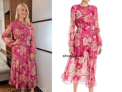 holly willoughby, pink floral midi dress, this morning