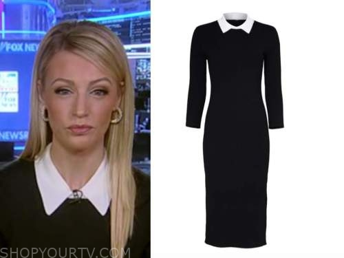 carley shimkus, fox and friends, black and white collar dress