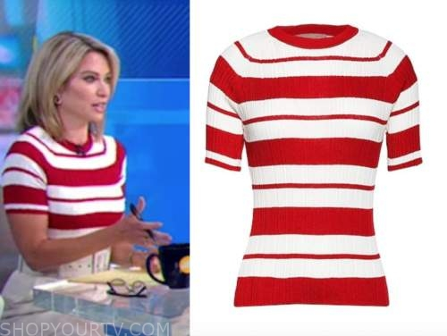 good morning america, amy robach, red and white striped knit top
