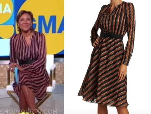 good morning america, robin roberts, striped dress