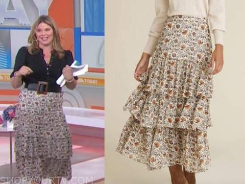 jenna bush hager, paisley floral tiered midi skirt, the today show