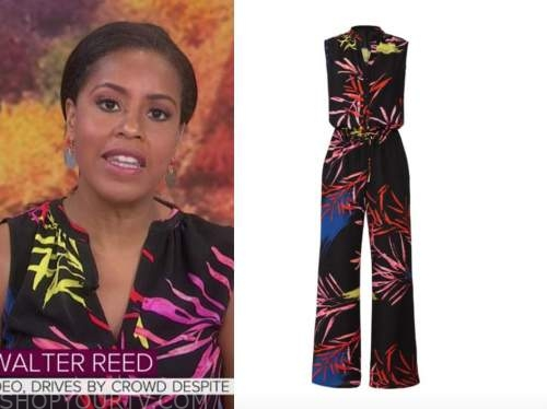sheinelle jones, the today show, black multicolor leaf print jumpsuit