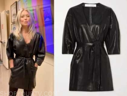 kelly ripa, black leather wrap mini dress, live with kelly and ryan