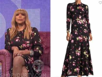 wendy williams, the wendy williams show, black floral maxi dress