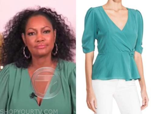 garcelle beauvis, the real, green teal wrap puff sleeve blouse