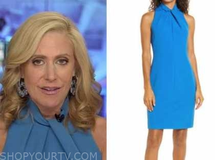 melissa francis, blue twist halter dress, outnumbered