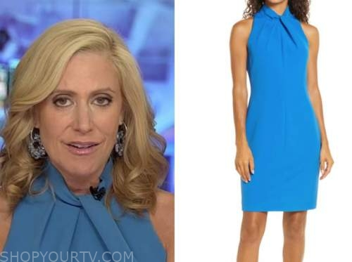 melissa francis, blue twist halter dress, outnumbered