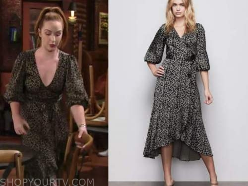mariah copeland, camryn grimes, leopard wrap dress, the young and the restless