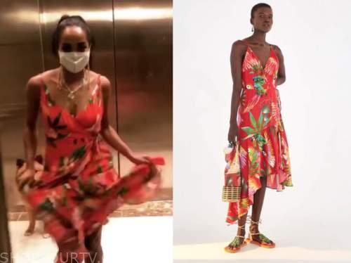 the bachelorette, rachel lindsay, red wrap printed midi dress