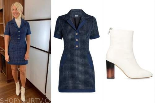 holly willoughby, this morning, blue textured knit dress, white booties