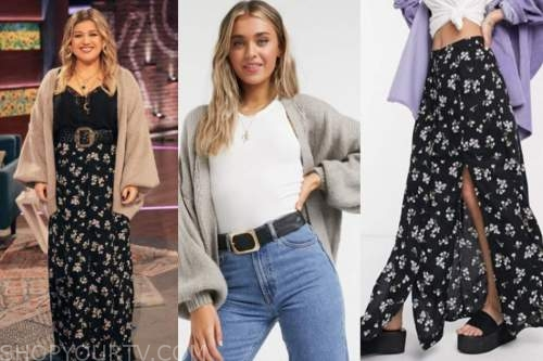 kelly clarkson, the kelly clarkson show, oversized sweater, black floral maxi skirt