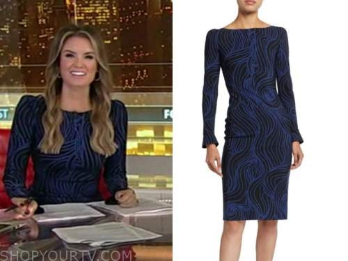 jillian mele, fox and friends, blue printed sheath dress
