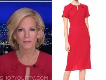 shannon bream, fox news at night, red keyhole ruffle sheath dress