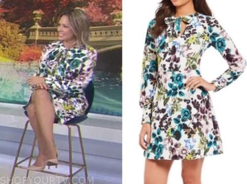 dylan dreyer, the today show, white floral tie neck shift dress