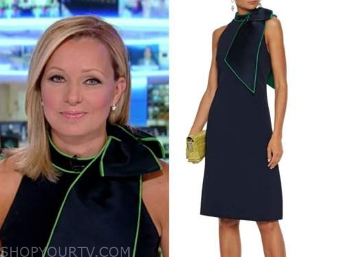 sandra smith, navy blue and green contrast trim bow dress, america's newsroom