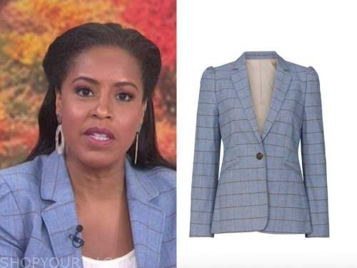sheinelle jones, the today show, blue windowpane grid blazer