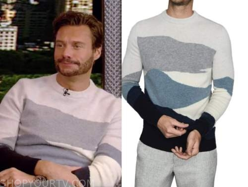ryan seacrest, blue colorblock sweater, live with kelly and ryan
