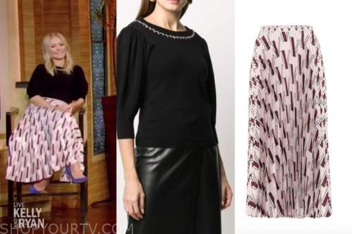 kelly ripa, black embellished short sleeve sweater, pink pleated midi skirt, live with kelly and ryan