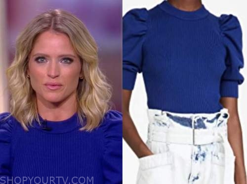 sara haines, blue puff sleeve sweater, the view