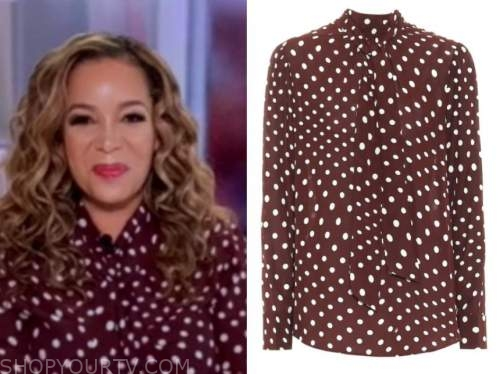 sunny hostin, the view, brown and white polka dot tie neck blouse