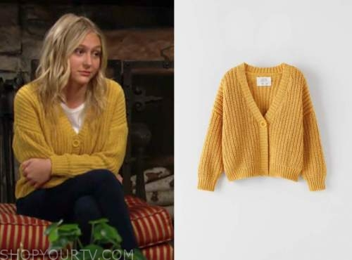 faith newman, alyvia alyn lind, yellow cardigan sweater, the young and the restless