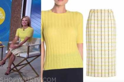 amy robach, yellow ribbed sweater, tweed pencil skirt