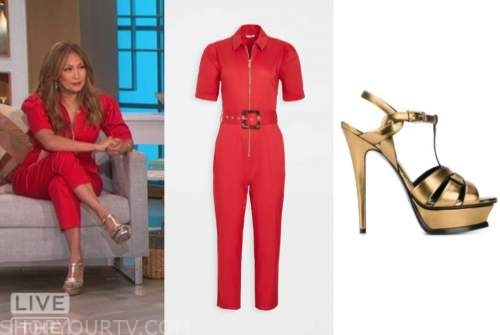 carrie ann inaba, the talk, red jumpsuit, gold sandals