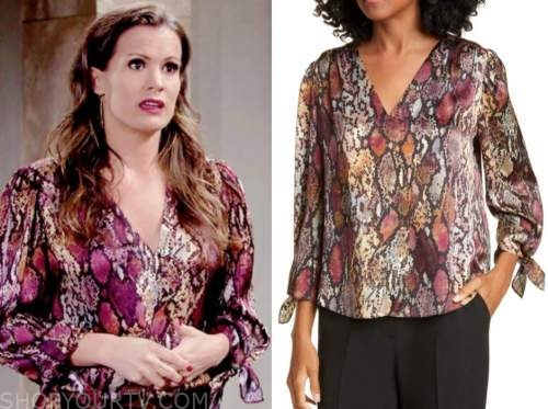 chelsea newman, melissa claire egan, the young and the restless, snakeskin blouse