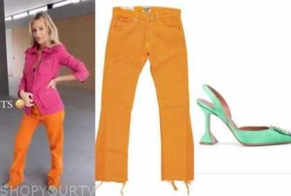 morgan stewart, E! news, daily pop, pink jacket, orange jeans, green shoes