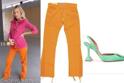 morgan stewart, E! news, daily pop, pink jacket, orange jeans, green shoes