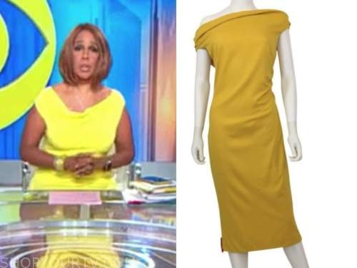 gayle king, cbs this morning, yellow cowl neck sheath dress
