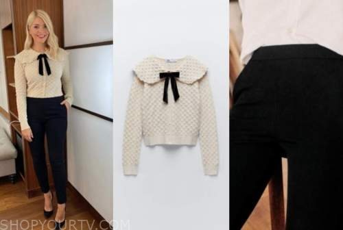 holly willoughby, this morning, beige textured bow sweater, black pants