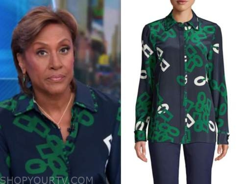 robin roberts, good morning america, blue and green link print blouse