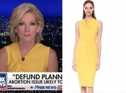 shannon bream, fox news at night, yellow twist sheath dress