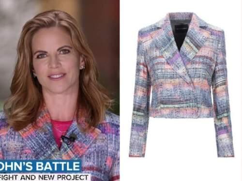 natalie morales, the today show, multicolor tweed jacket