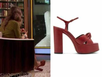 drew barrymore, drew barrymore show, red leather platform sandals