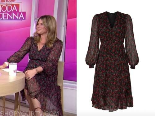 jenna bush hager, black and red printed midi dress, the today show