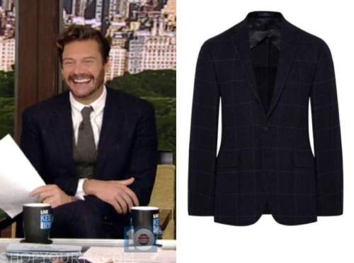 ryan seacrest, live with kelly and ryan, navy blue check suit jacket
