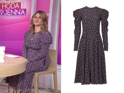 jenna bush hager, the today show, puff shoulder midi dress