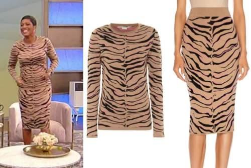 tamron hall, tamron hall show, tan zebra print dress,