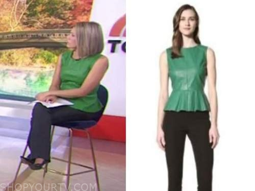 dylan dreyer, the today show, green leather peplum top