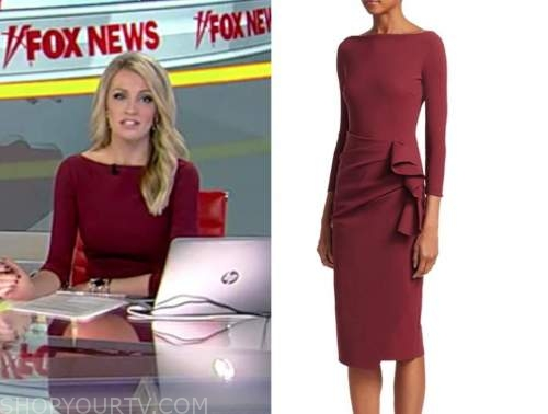 carley shimkus, burgundy side ruffle dress, fox and friends