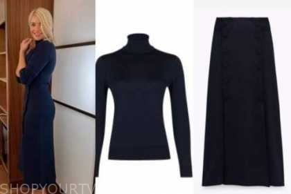 holly willoughby, navy blue turtleneck and midi skirt, this morning