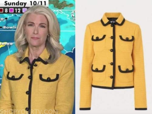 janice dean, yellow and black tweed jacket, fox and friends