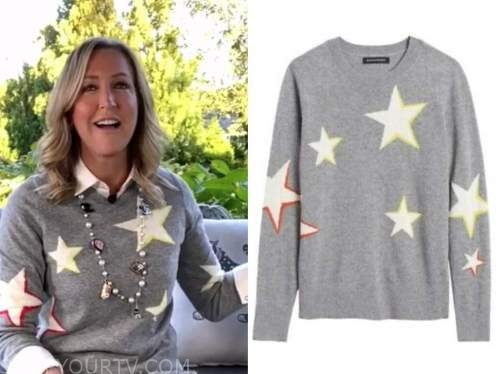 lara spencer, good morning america, grey star print sweater