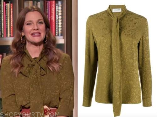 drew barrymore, drew barrymore show, olive green jacquard tie neck blouse