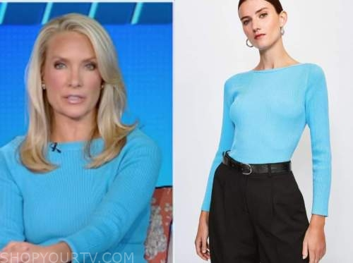 dana perino, the five, turquoise ribbed knit top