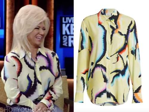 theresa caputo, yellow tie dye blouse, live with kelly and ryan